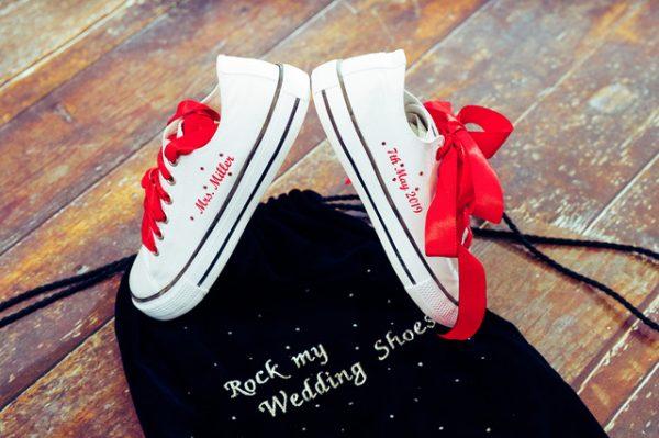 Hochzeitsschuhe mit individuellem Textildruck