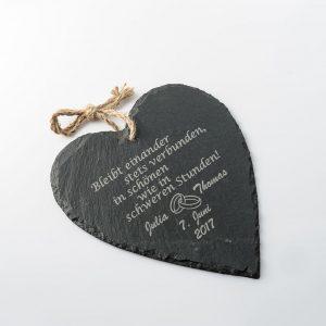 Hochzeitsgeschenk graviert mit persönlichem Spruch