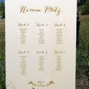 Hochzeitstafel graviert und perfekt in Szene gesetzt
