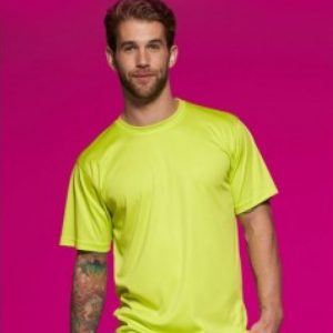 Einfärbiges Sport Shirt mit Textildruck