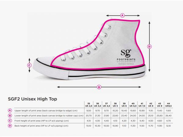 Schuhgrößentabelle mit Logo für den Textildruck
